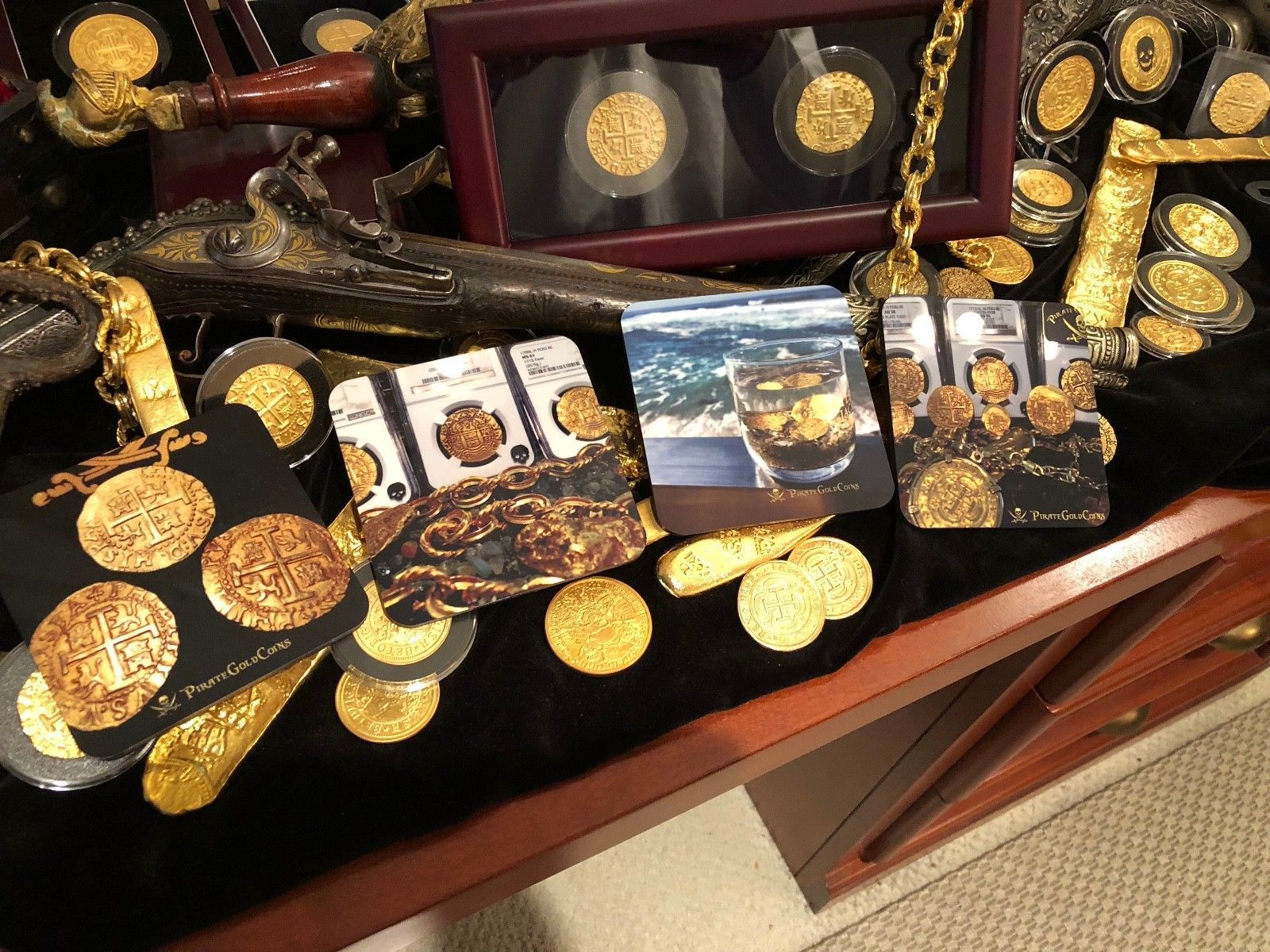 COASTERS BY PIRATE GOLD COINS SET OF 4 FAVORITE TREASURE PHOTOS OF ESCUDOS COINS