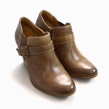 SOFFT Smooth Brown Leather Belt Strap Ankle Boot High Heel Booties Shoes 9.5 M - $22.76