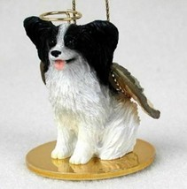 PAPILLON (BLACK WHITE) ANGEL DOG CHRISTMAS ORNAMENT HOLIDAY Figurine Statue - $14.99