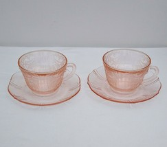 Set of 2 Cups & Saucers American Sweetheart Pink Depression Glass - $19.95