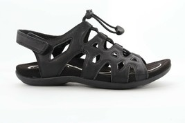 Abeo Bina Fisherman Sandals Black  Women's Size US 7 Post Footbed (EP)4503 - $89.00