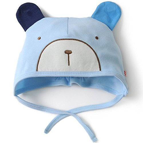 Baby Bear Hat Toddler Soft Hat Infant Cotton Hat 0-18Months (Light Blue)