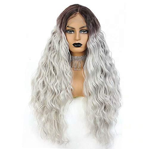 Long Wavy Lace Front Wigs For Women 24 Inch Deep Wave Wig Ombre Gray Synthetic F