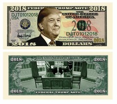 Pack of 25 - Donald Trump Presidential Novelty Dollar Bills 2018 Federal... - $8.90