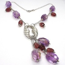 Silver necklace 925, FLUORITE OVAL Faceted Purple Cluster Pendant image 2