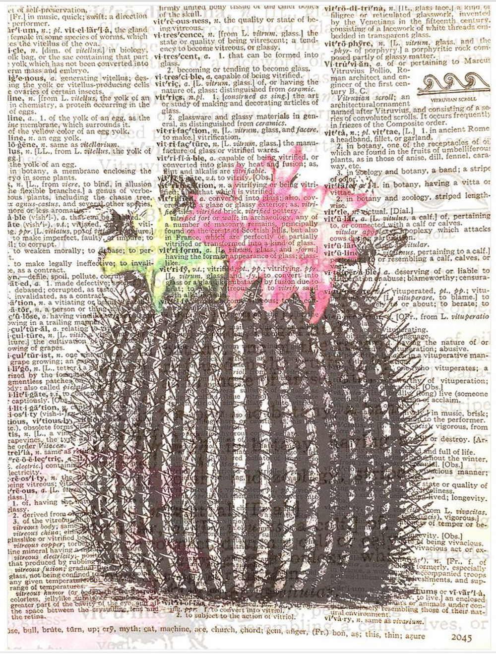 Art N Wordz Flower Cactus Plant Original Dictionary Sheet Pop Art Wall Print