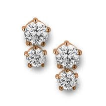 Sterling silver 0,925 New Bling with white zirconia earrings rosegold pl... - $24.75