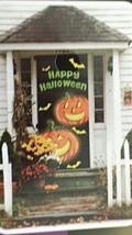 """Halloween Door Cover Home Accents Pumpkins 30 """"W/ 72""""H black orange  CBL-92 - $9.37 CAD"""
