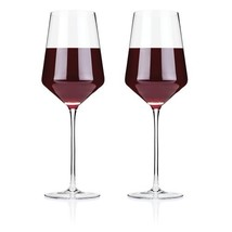 Glass Wine, Elegant Raye Crystal Bordeaux Insulated Clear Wine Glass, Se... - $38.31 CAD