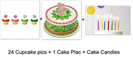 Luau Beach Hawaii Polynesian Flowers Cake Cupcake Topper Pics Rings Part... - $18.76