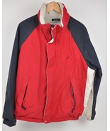 VTG Men's NAUTICA Color Block REVERSIBLE Coat Fleece/Nylon XL Hidden Hood - $38.61