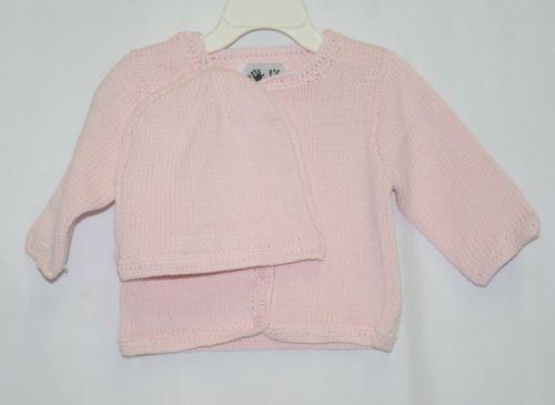 Finger Prints New York Pink Long Sleeve Sweater Matching Beanie 6M