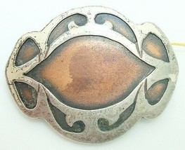 Arts and Crafts Heintz Sterling and Copper Pin (#J2520) - $148.50