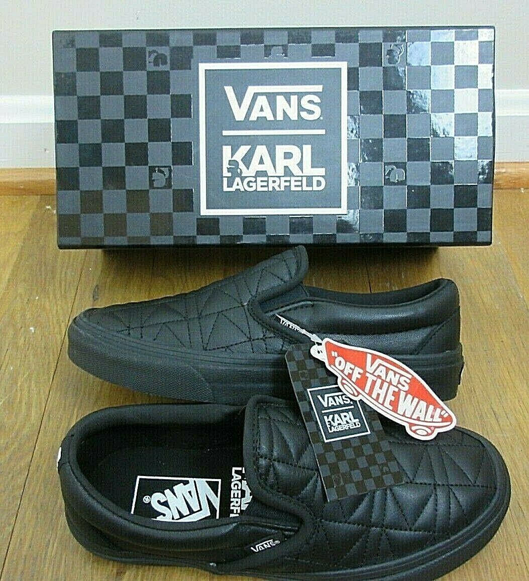 Vans x Karl Lagerfeld Womens Classic Slip on K Quilted shoes Black Size 8.5 NIB