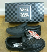 Vans x Karl Lagerfeld Womens Classic Slip on K Quilted shoes Black Size ... - $133.64