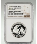 2016-P Australia S$1 Year of the Monkey High Relief 1 Oz. Silver Coin NG... - $98.01