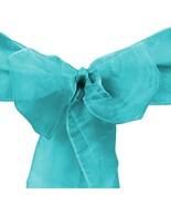 LinenTablecloth Organza Sash 10-Piece Turquoise - $10.39