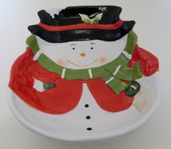 Snowman Christmas Serving Bowl Black Hat Green Scarf Red Jacket Midwood ... - ₹1,068.13 INR