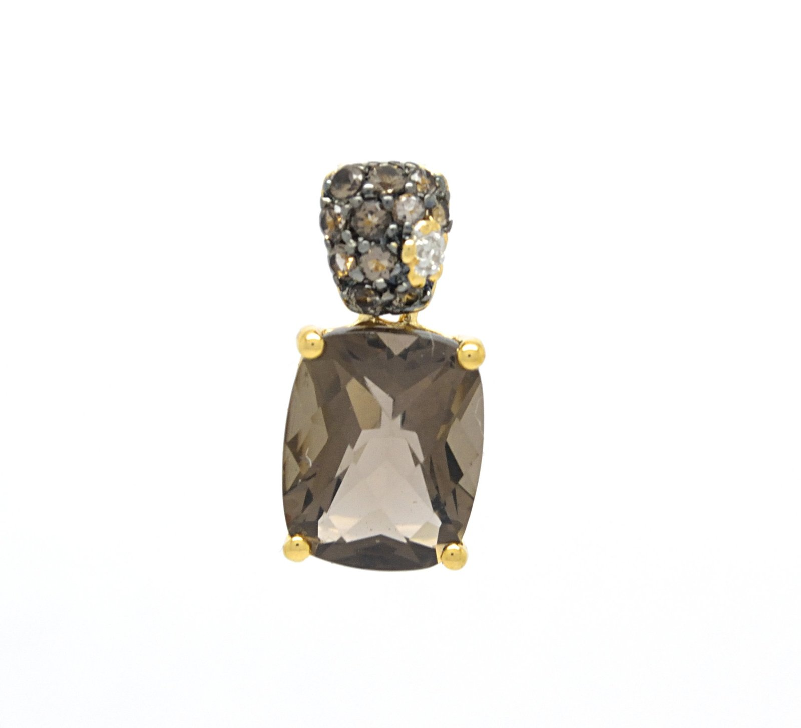 925 Sterling Silver Gold Tone Plated Genuine Smoky Quartz Pendant with Silver Ch