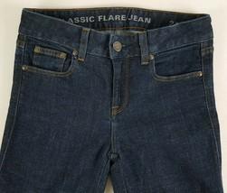 J Crew Woman's Classic Flare Dark Blue Denim Jeans Pants 24x29 Cotton St... - $13.99