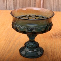 Vintage Indiana Blue Glass Kings Crown Thumbprint Compote Footed Candy Dish - $32.71
