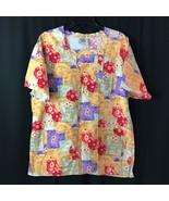 Crest Scrub Top Floral Medium Womens 100% Cotton Colorful Nurse - $11.08