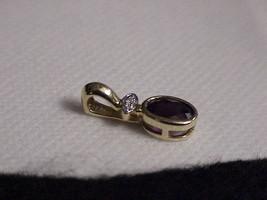 14K 1.00ct Garnet Oval Pillow Cut Diamond Pendant Yellow Gold Vintage - $415.79