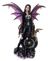 "Atlantic Collectibles Large 22"" Tall Goth Rocker Biker Skull Fairy With ... - $149.99"