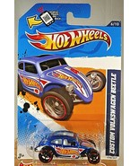 2012 Hot Wheels #176 HW Racing 6/10 CUSTOM VOLKSWAGEN BEETLE Blue Varian... - $9.75
