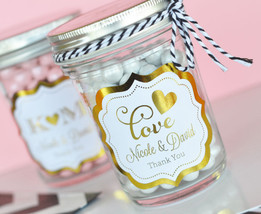50 Personalized Gold or Silver Foil Mason Candy Jar Bridal Wedding Favor - $85.45