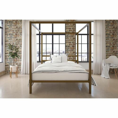 Queen Size Dark Gold Metal Canopy Bed Frame Headboard Modern Bedroom Furniture