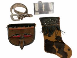 Leather Suede Cowhide Handcrafted Lot - Belt Handbag Bag Purse Clutch Stocking image 7
