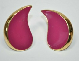 VTG MONET Large Purple Enamel Gold Tone Tear Drop Shaped Clip-On Earnings - $12.60