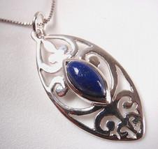 Lapis Marquise Filigree 925 Sterling Silver Necklace Corona Sun Jewelry - $281,99 MXN