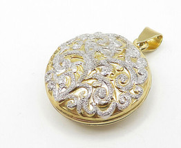 925 Sterling Silver - Two Tone Gold Plated Swirl Locket Pendant (OPENS) ... - $51.72