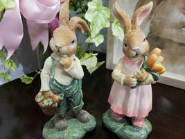 Easter Spring Vintage Style Glitter Bunny Rabbit Figurines Set of 2 - $28.99
