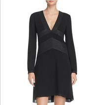 $450 NWT Tory Burch Varenne Tunic Metallic Trim Silk Black Dress sz 2 - $179.99
