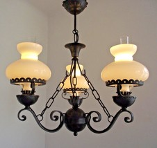 French Country Style Aged Wrought Iron 3 Arm Chandelier with Glass Shade... - $151.32