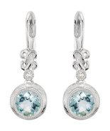 14K White Gold .02CTW Aquamarine & Diamond Earrings - $475.00