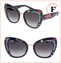 DOLCE & GABBANA PRINT FAMILY GRAFFITI 4338 Black Square Sunglasses DG4338S - $273.24
