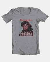 Pin Up Girl T-shirt Bag Trouble retro 50s art vintage style 100% cotton tee image 2