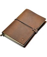 A5 Leather Notebook - A5 Refillable Travel Journal, Hand-Crafted Genuine... - $33.95