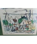 Thomas Meek Jr 1950s Fishing Town Original Watercolor on Lithograph  - $112.71