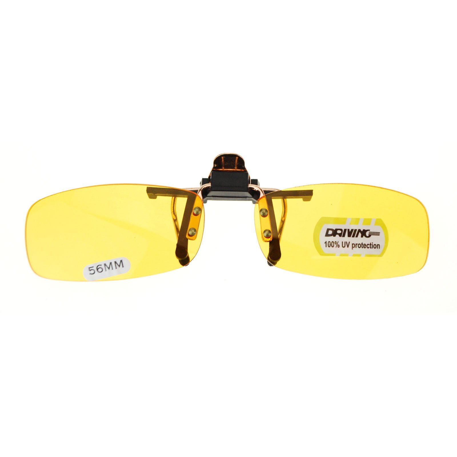 Unisex Retro 29mm x 56mm Clip On Night Driving Yellow Lens Sunglasses Copper