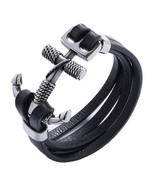 Vintage Black Men Leather Bracelet Stainless Steel Cross Anchor Toggle-C... - $12.90