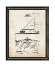Fishing Net Patent Print Old Look with Black Wood Frame - $24.95+