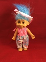 Vintage Russ Troll Doll In Garden Outfit With Blue Hair  - $24.74
