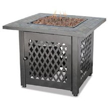 Uniflame Lp Fire Pit 30,000 btu Propane Patio Deck Fireplace with Slate ... - $269.00