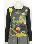 1 Bella Carra top t-shirt SZ M Biz Enterprises long sleeve black multicolor - $9.89