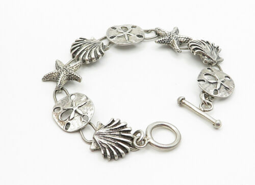 MEXICO 925 Silver - Vintage Grape Bunch Leaf Charmed Chain Bracelet - B6151 image 2